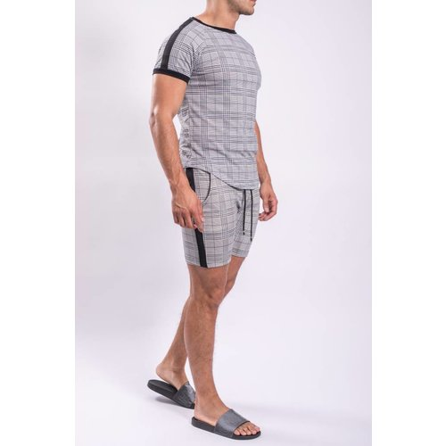 Y Shorts checkered  striped 1378 light grey