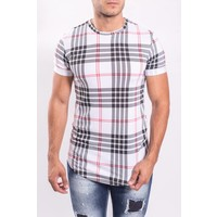 "Y T-shirt ""checkered"" red details WHITE"