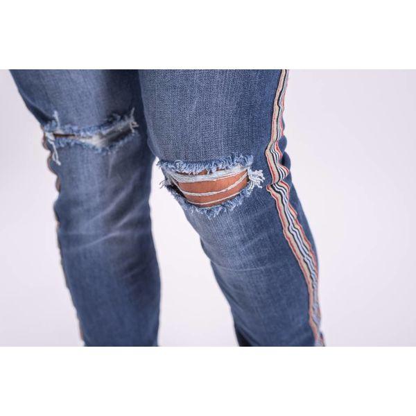 Skinny fit jeans gold/black/red striped BLUE