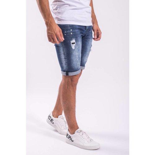 Y Jeans shorts yellow splashes dark Blue