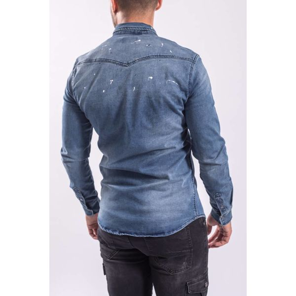 Denim blouse splashes BLUE