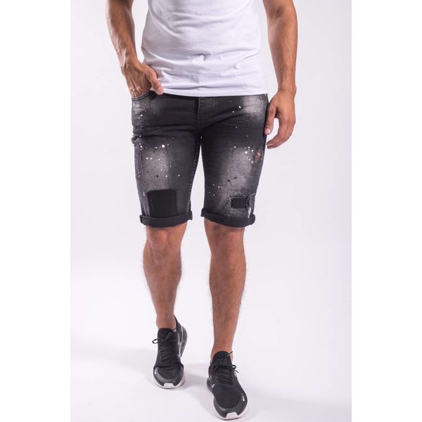 Jeans shorts Black splashes