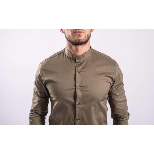 Hemd slim fit round neck KHAKI