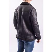 Y Leather look Aviator Jacket Warm Gevoerd