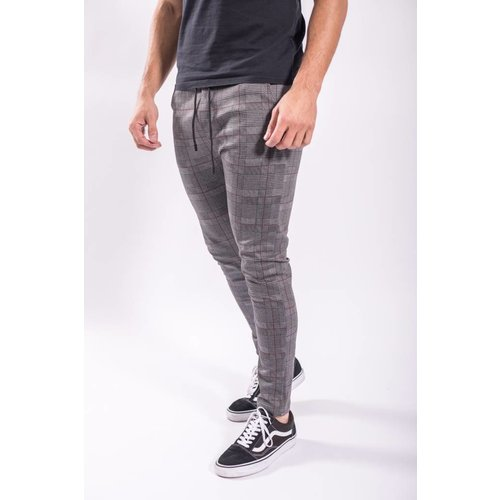 Track pants checkered Grey/red