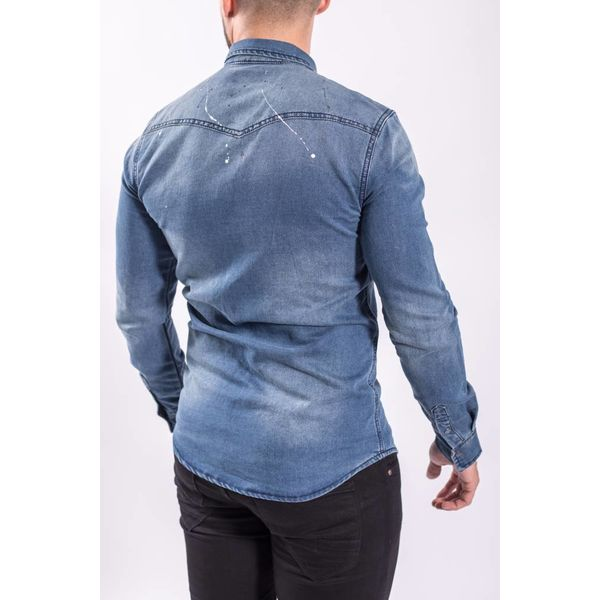 Denim blouse splashes BLUE