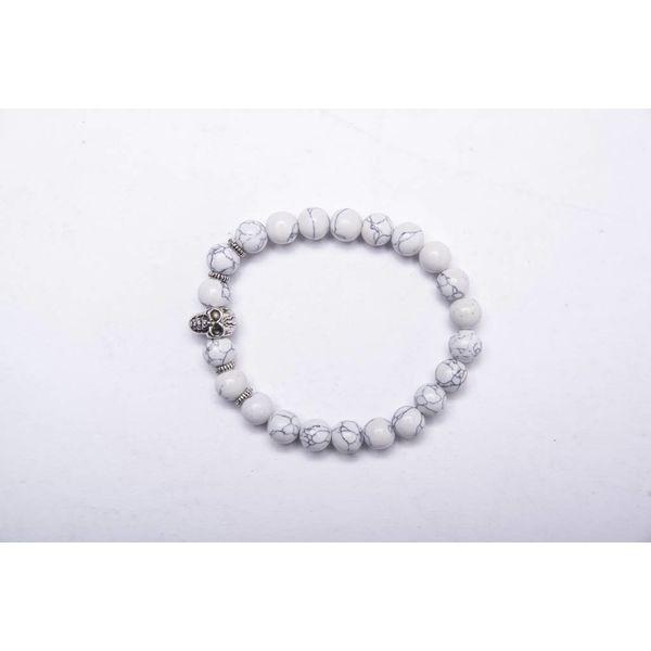 Y Bracelet silver skull white/black marmer look