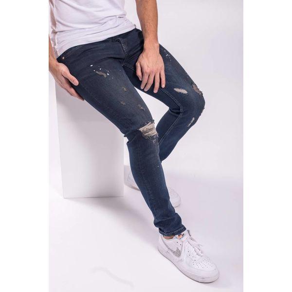 Skinny fit stretch jeans shreds / white-red splashes DARK BLUE