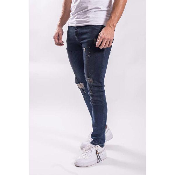 Y Skinny fit stretch jeans shreds / white-red splashes DARK BLUE