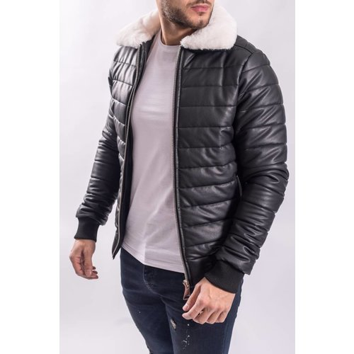 "Y Pilot / bomber ""leather look"" Black white fur"