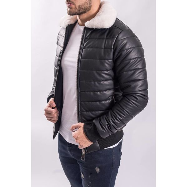 """Y Pilot / bomber """"leather look"""" Black white fur"""
