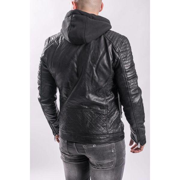 Y Leather look biker jacket (with hood) BLACK