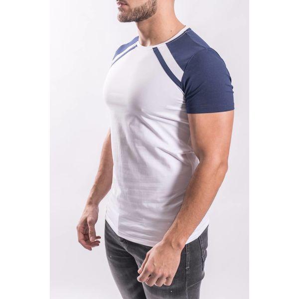 Y T-shirt blue stripe WHITE
