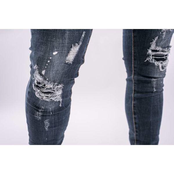 Skinny fit stretch jeans Dark Blue splashes / shreds