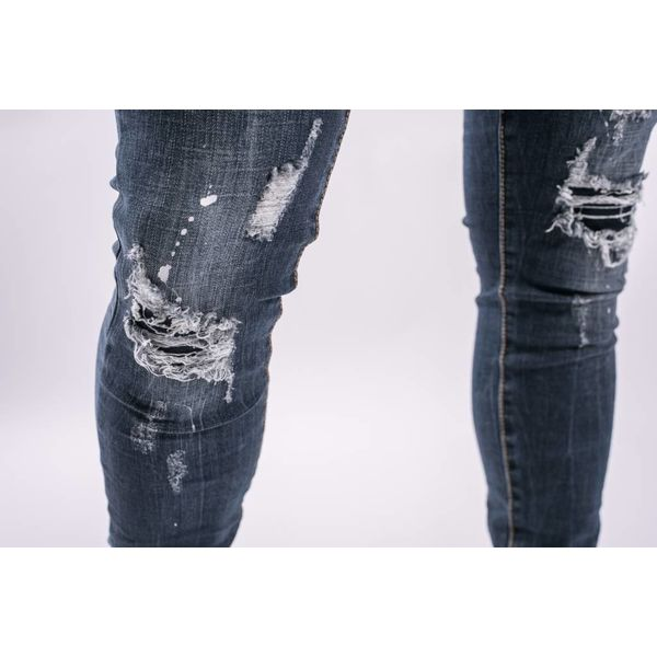 Y Skinny fit stretch jeans Dark Blue splashes / shreds