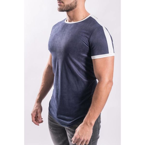 T-shirt suede look Blue / white stripe