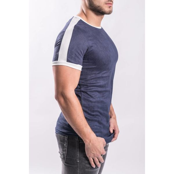 Y T-shirt suede look Blue / white stripe