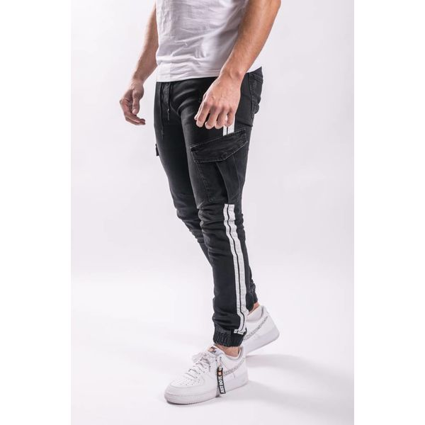 Y Cargo stretch jeans BLACK / white stripes