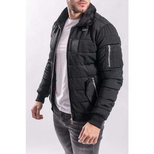 Pilot / bomber jacket black fur BLACK