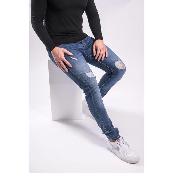 Skinny fit stretch jeans basic blue shreds