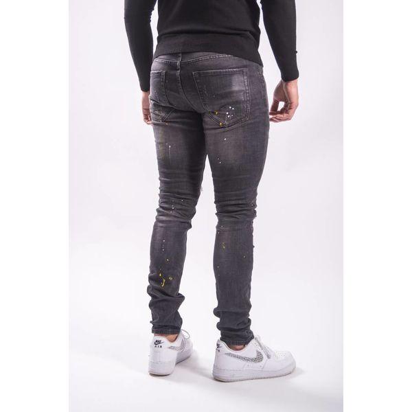 Skinny fit stretch jeans yellow/white splashes BLACK