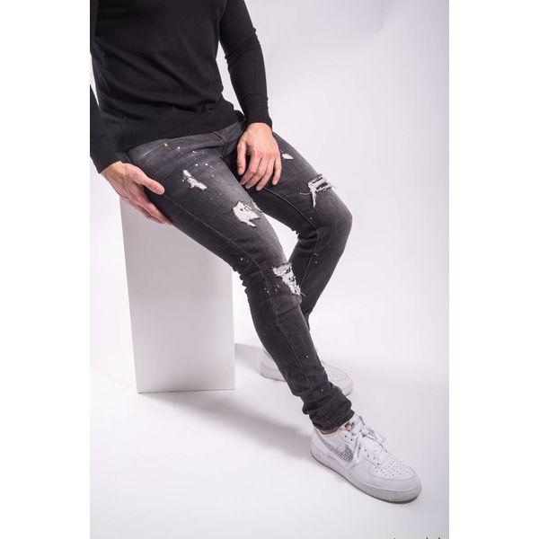 Y Skinny fit stretch jeans yellow/white splashes BLACK