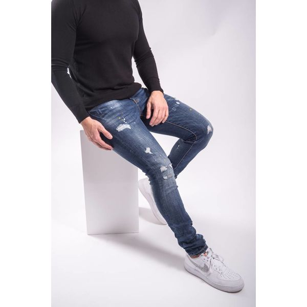 Skinny fit stretch jeans yellow/red/white splashes BLUE