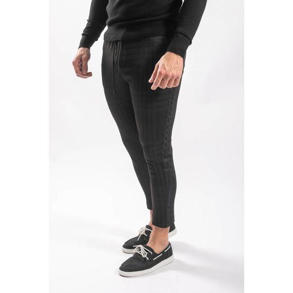 Track pants checkered black on black