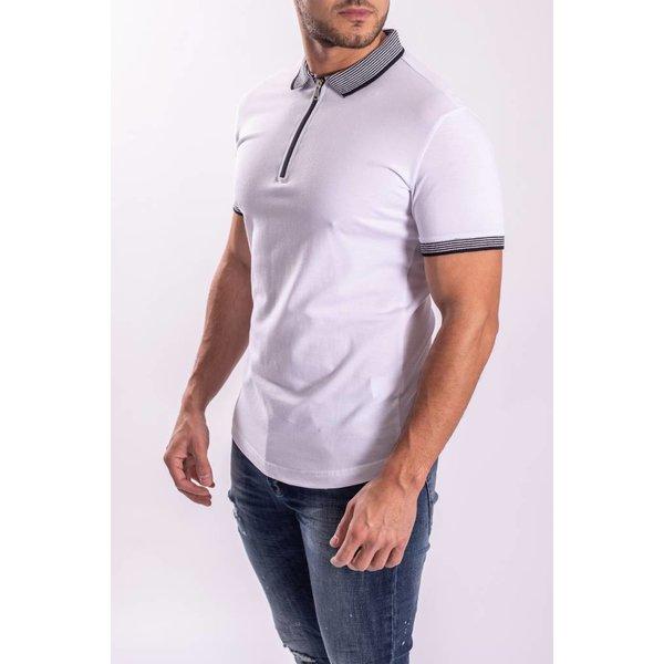Y Polo White Striped Collar