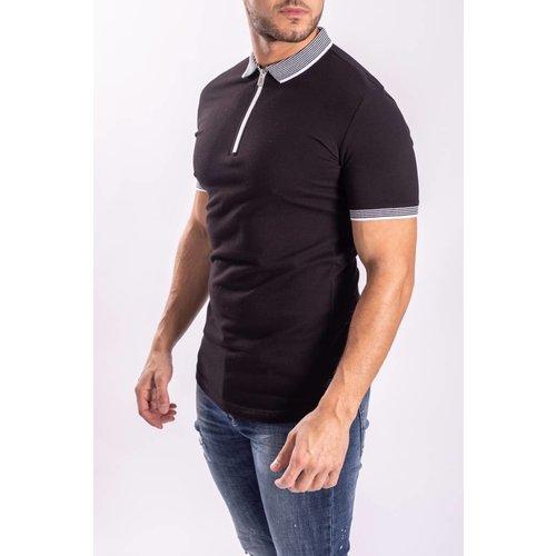 Polo Black Striped Collar