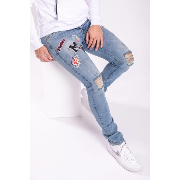 """Y Skinny Fit Stretch Jeans """"Patches"""" Blue"""