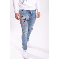 """Skinny Fit Stretch Jeans """"Patches"""" Blue"""