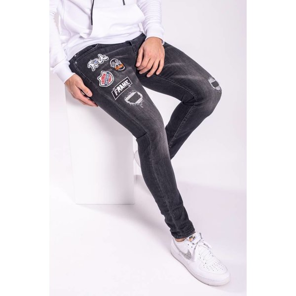 """Y Skinny Fit Stretch Jeans """"Patches"""" Black"""