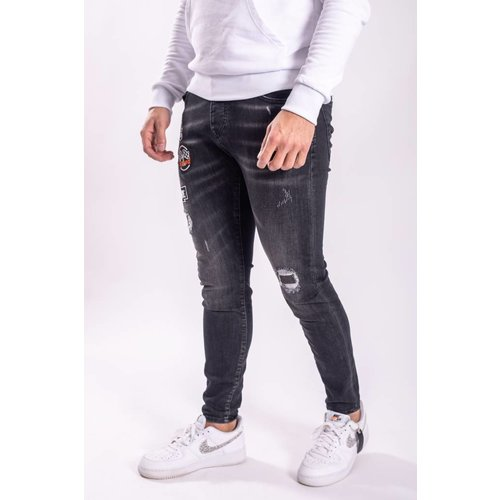 """Skinny Fit Stretch Jeans """"Patches"""" Black"""