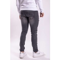 Skinny Stretch Jeans / splashes shreds Dark grey