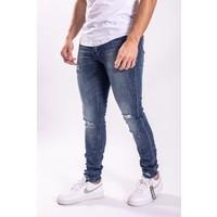 Skinny fit stretch jeans white splashes BLUE