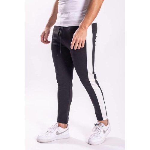 Track pants BLACK white striped