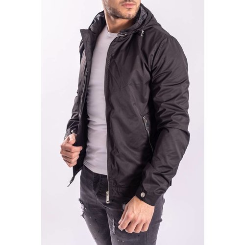 Jacket black with silver zippers
