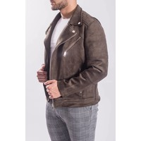 Biker jacket suede look  / silver zippers Green