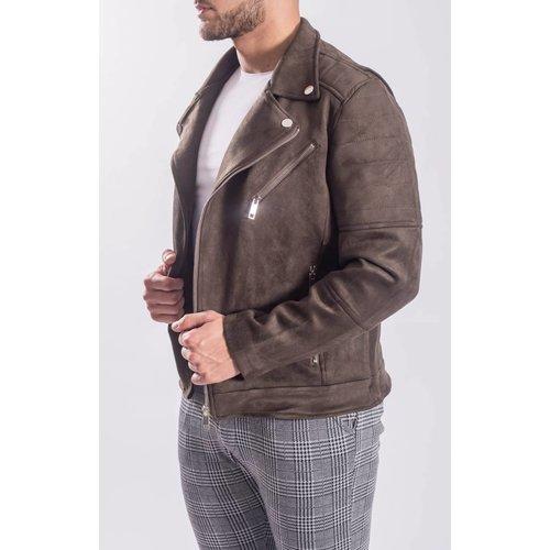 Biker jacket suede look / silver zippers Green