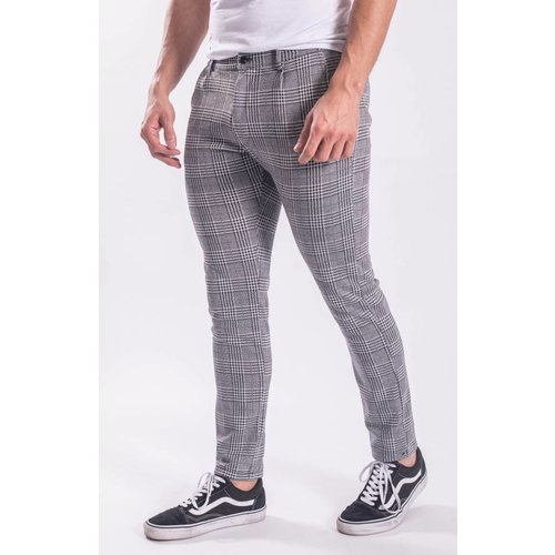 Checkered stretch pantalon