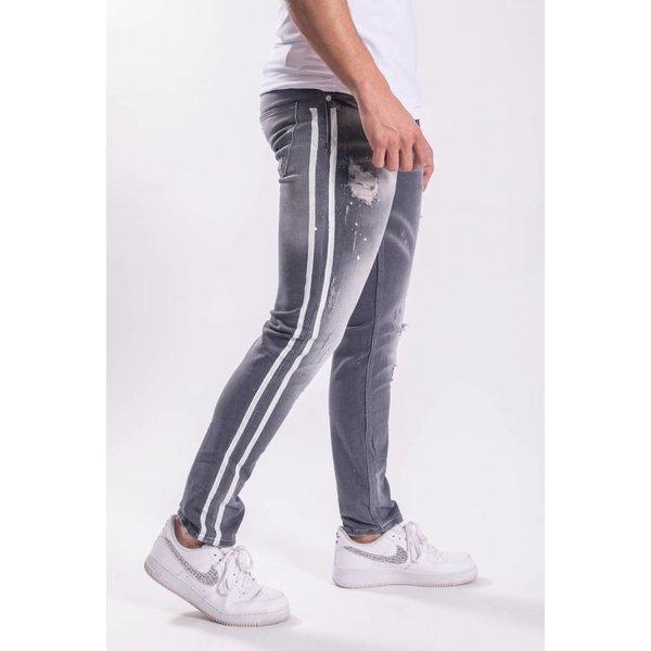 Skinny fit stretch jeans white stripes / Grey
