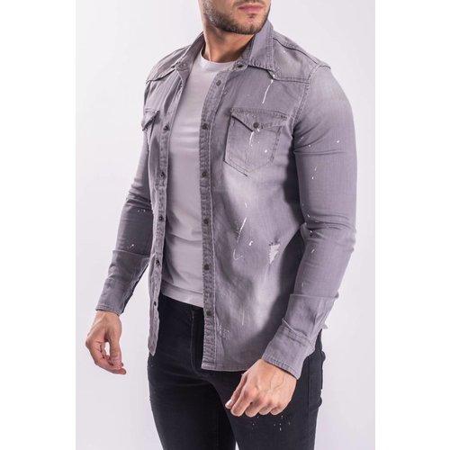 Denim stretch blouse Grey with white splashes