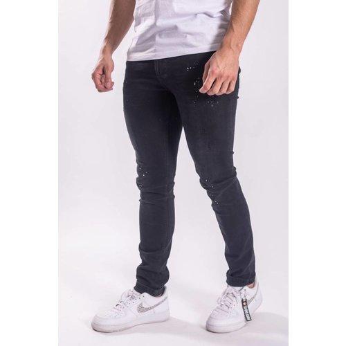 Skinny fit stretch jeans splashes white / BLACK