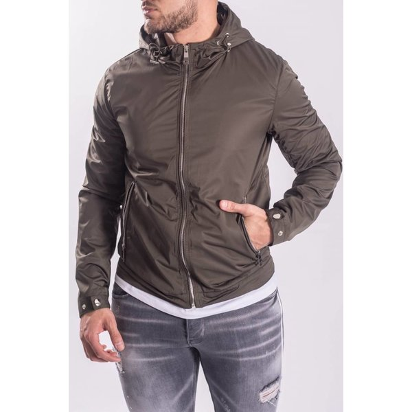 Jacket green with silver zippers