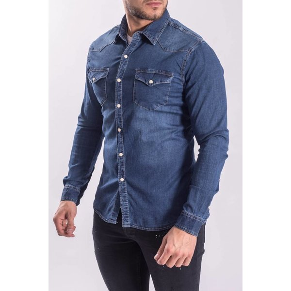 Denim stretch blouse Dark blue