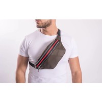 Y Waist Bag Red striped GREEN