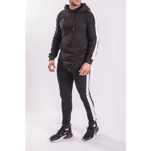 Tracksuit Hooded striped Black/white