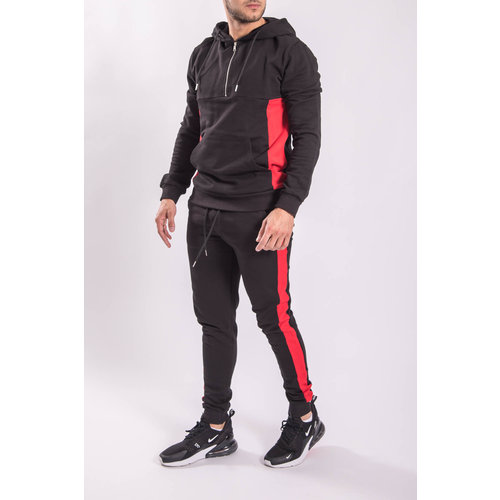 Y Tracksuit Half Zipped BLACK/RED