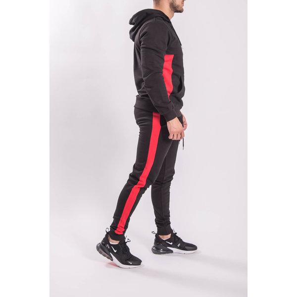 Tracksuit Half Zipped BLACK/RED
